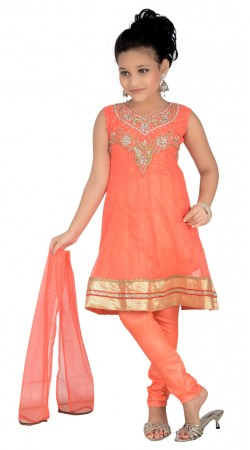 Salmon Net Golden Border Readymade Kids Salwar Kameez DT0640