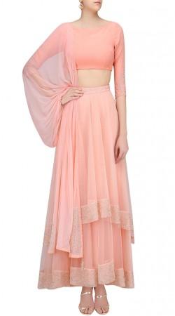 Salmon Pink Silk Designer Crop Top Lehenga SUUDL25025