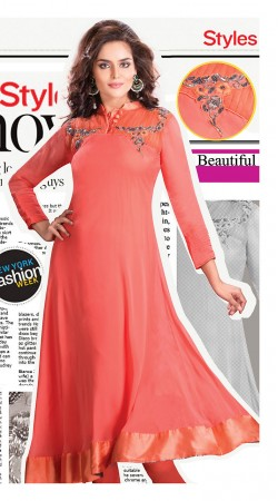 Salmon Satin Border Faux Georgette Readymade Stylish Kurti 3FD3696605