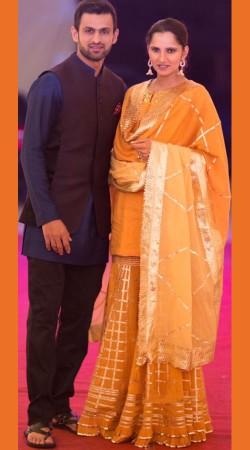Sania Mirza In Mustard Chiffon Sharara With Dupatta SM2206