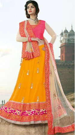 Savory Net Orange Designer Lehenga With Contrast Choli MS690928