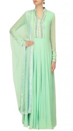 Sea Green Designer Churidar Sleeves Floor Length Anarkali Suit SUUDS42120
