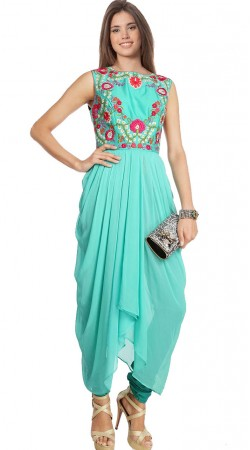 Sea Green Georgette Designer Suit SU7501
