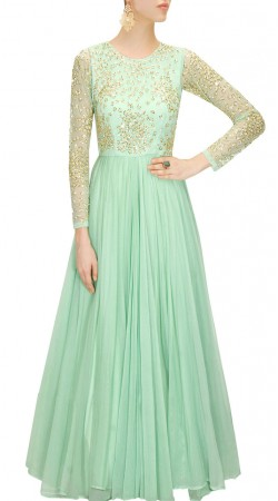 Sea Green Georgette Party Wear Gown Suit SUUDS49430