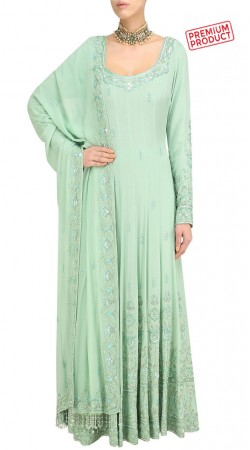 Sea Green Georgette Plus Size Anarkali Salwar Kameez SUMS31321