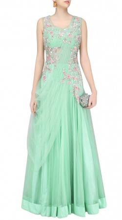 Sea Green Net Floral Work Cinderella Gown Style Suit SUUDS43920