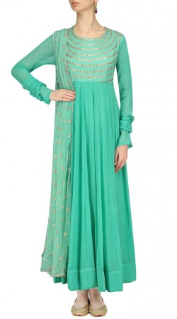 Sea Green Silk And Georgette Floral Work Anarkali Suit SUMS35924