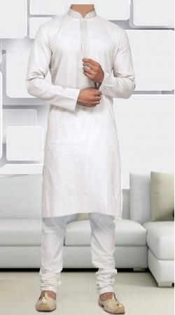 Self Weaving Cotton White Kurta Pajama For Men SIDCW246