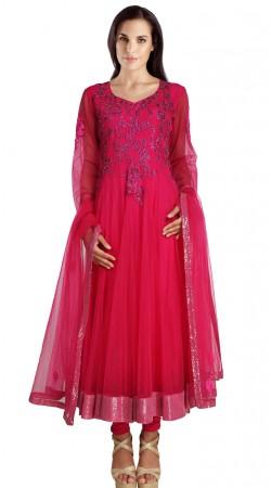 Sequins Work Border Pinkish Red Net Party Wear Salwar Kameez SU20911