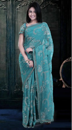 Sequins Work Firozi Faux Georgette Exclusive Saree With Blouse ZP0104