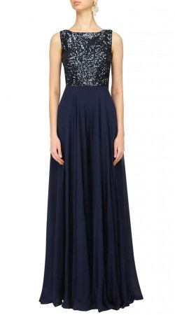 Sequins Work Navy Blue Designer Gown Style Suit SUUDS48029