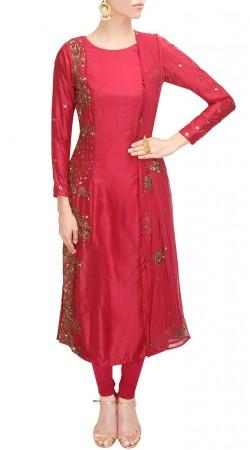 Sequins Work Pinkish Red Silk Plus Size Salwar Kameez SUUDS49330