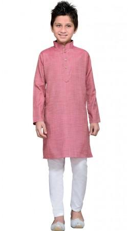 Shaded Pink Cotton Kids Boy Kurta Pajama GR11008