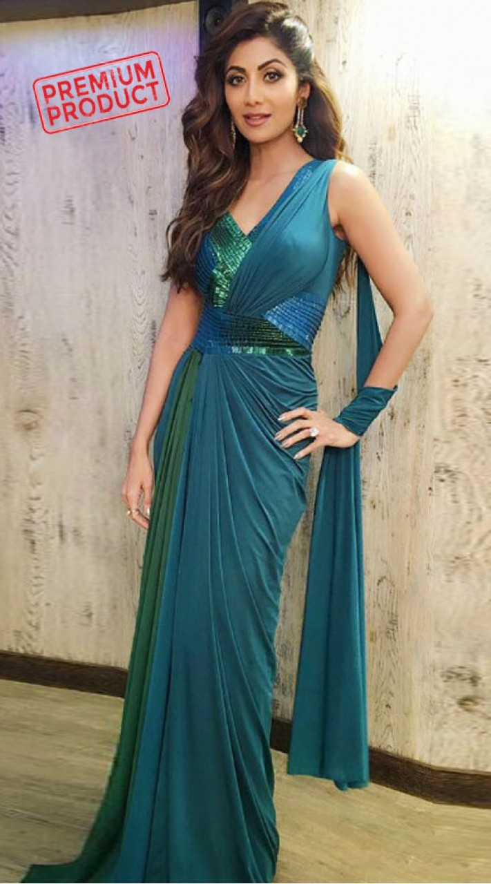 Shilpa Shetty Teal Saree Gown For Party BP1346