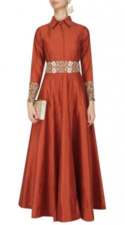 Shirt Collar Neck Red Silk Anarkali Salwar Kameez SUUDS44226