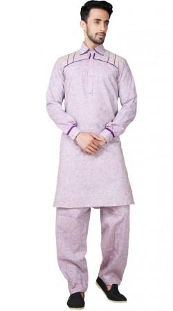 Short Collar Neck Cotton Linen Kurta Pajama GR154319