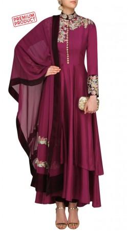 Silk Floral Work Dark Magenta Designer Salwar Kameez SUMS27521