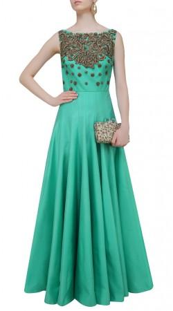 Silk Sea Green Boat Neck Floor Length Anarkali Suit SUUDS43320