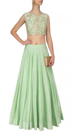 Silk Sea Green Designer Crop Top Lehenga SUUDL27325