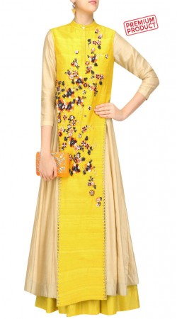 Silk Yellow Plus Size Anarkali Salwar Kameez SUMS32521