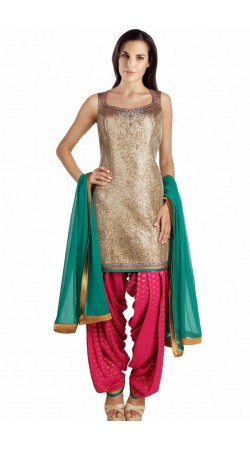 Silver And Ruby Georgette Patiala Salwar Kameez With Dupatta SUMS1312