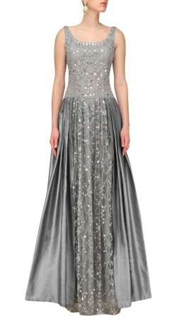 Silver Mirror And Embroidery Work Gown Style Suit SUUDS44326