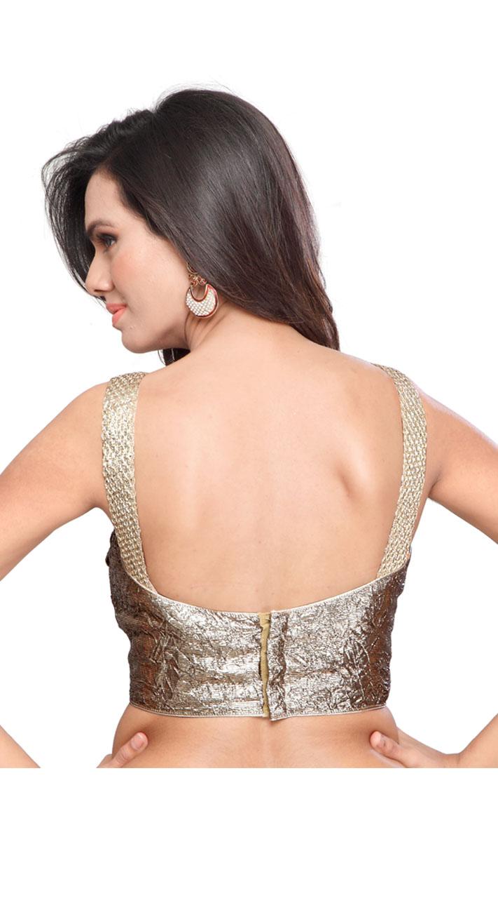 Silver Shimmer Designer Blouse For Saree BPMS1812