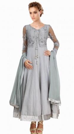 Silver Silk Short Koti Style Party Wear Salwar Kameez SU22211