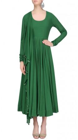 Single Color Green Silk Medium Length Anarkali Suit SUUDS41420