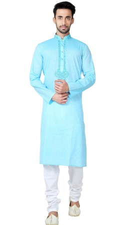 Sky Blue Cotton Kurta Pajama For Men GR150214