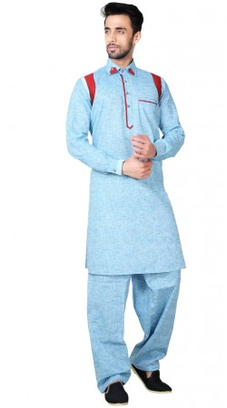 Sky Blue Cotton Linen Pathani Kurta Pajama GR153919