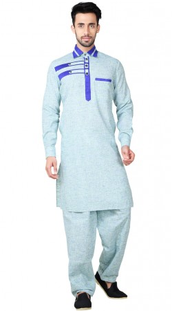 Sky Blue Cotton Linen Pathani Kurta Pajama GR154119