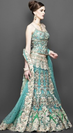 Sky Blue Designer Indian Wedding Bridal Lehenga