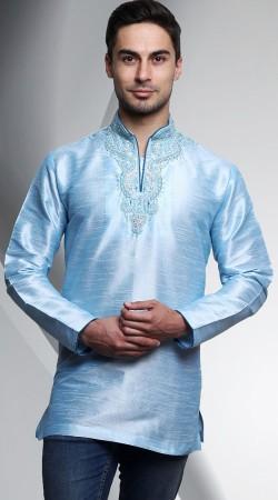 Sky Blue Dupian Silk Collar V Cut Neck Men Short Kurta DTDK663