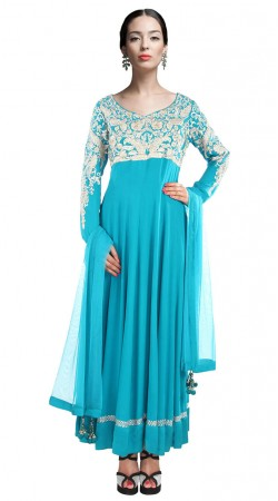 Sky Blue Georgette Resham Work Yoke Ankle Length Anarkali Suit SUUDS28104