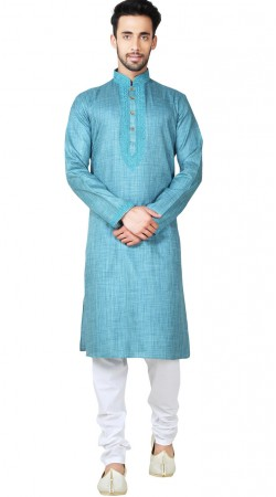 Sky Blue Linen Cotton Men Kurta Pajama GR149717