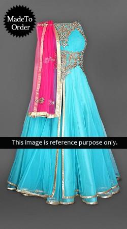 Sky Blue Net Replica Anarkali Suit 005