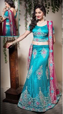 Sky Blue Net Semi Bridal Lehenga Choli With Contrast Dupatta LD003805