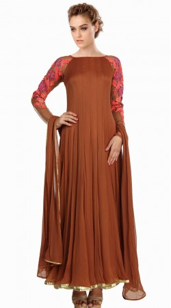Sleeves embroidered Brown Net Exclusive Salwar Kameez SU22011