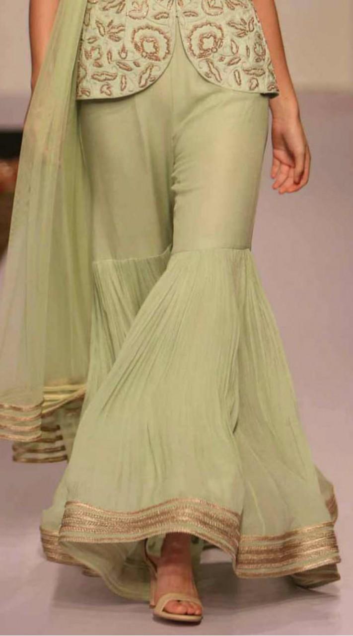 Party Wear Pastel Green Designer Sharara Sm1006