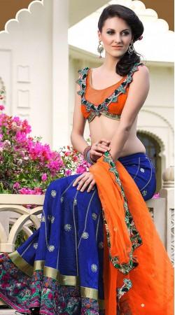SM2H470225 Blue And Orange Satin Lehnga Saree With Blouse