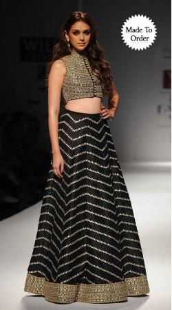 Snazzy Black Aditi Rao Hydari Bollywood Star Replica Designer Crop Top Lehenga BP1208