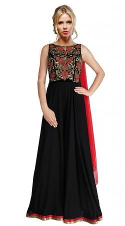 Snazzy Black Georgette Embroidered Floor Length Anarkali Suit SUUDS29104