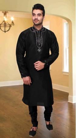 Snazzy Black Silver Embroidered Dupion Silk Kurta Pyjama DTKP1433