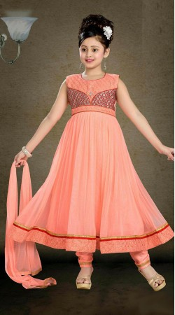 Snazzy Peach Net Kids Girl Long Anarkali Suit With Embroidery Work DT11248