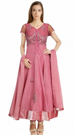 Snazzy Pink Silk Koti Style Embroidered Party Wear Salwar Kameez SU22311