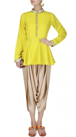 Softball Yellow Georgette Short Anarkali With Dhoti Pant SUUDS50330