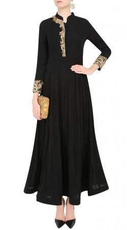 Specialised Black Designer Ankle Length Anarkali Suit SUMS24217