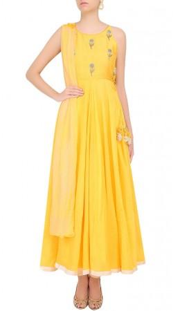 Specialised Floral Work Yoke Yellow Dupion Designer Anarkali Suit SUMS24617