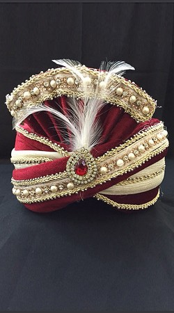 Stone Work Cream Georgette Red Velvet Wedding Turban For Groom DTT1235